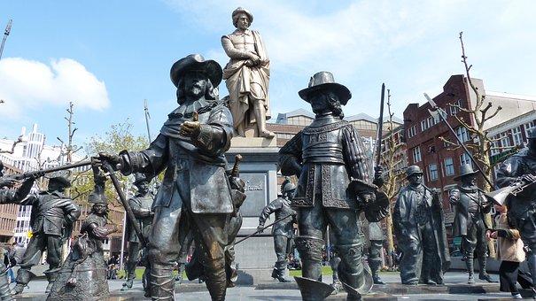 Amsterdam, Netherlands, Rembrandt, Statue, Round, Night
