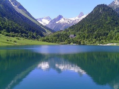 Lake, Mountain, Landscape, Pyrénées, Nature