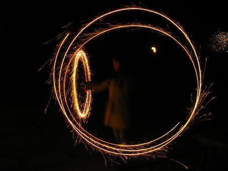 Sylvester, Sparkler, Circle, Glowing, Turn Of The Year