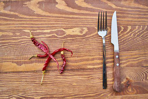 Red, Pepper, Pain, Table, Fork, Knife, Background, Wood