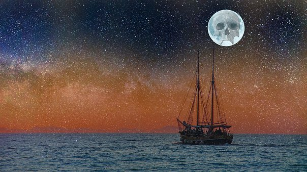 Star, Universe, Ship, Sea, Ocean, Skull, Moon, Space