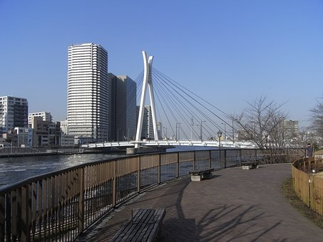 Tsukishima Walks, Waterfront, Winter Sky