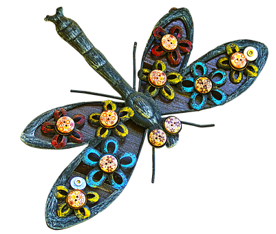 Dragonfly, Art Object, Wall Decoration, Metal, Wood