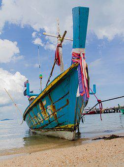 Thailand, Longtail, Boat, Beach, Big Buddha Beach