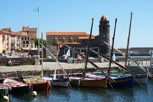 Collioure, Boats, Sea, Boat, Fishing, Blue, Old, Water