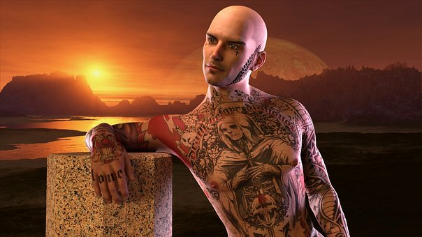 Man, Extravagant, Tattoo, Sunset, Peeled, Contemplation