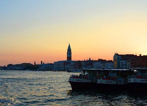Venice, Sunset, Abendstimmung, Holiday, Ships