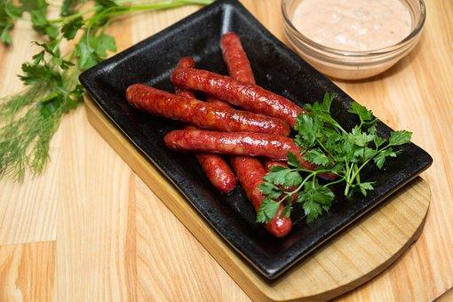 Sausages, Bratwurst, Meat, Grill, Bbq, Closeup, Juicy