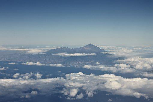 Tenerife, Aerial View, Clouds, Mountains, Summit, Sky