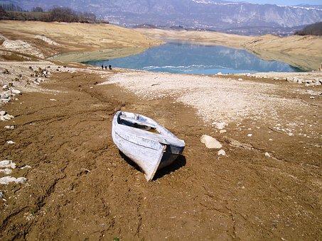Drought, Lake, Water, Mud