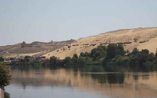 Desert, River Bank, Trees Sand, River Nile, Riverscape