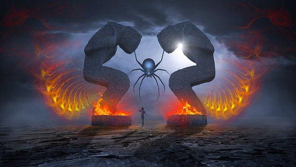 Fantasy, Sculpture, Fire, Mystical, Spider