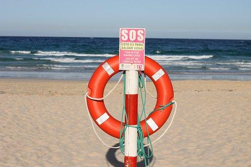 Beach, Sun, Lifebelt, Sos, Contrast, Sky, Sea, Summer