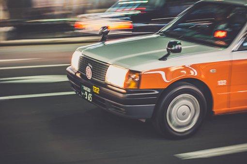 Taxi, Street, City Sign, Car, Traffic, Transport