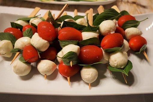 Tomatoes, Mozzarella, Skewers, Eat, Delicious, Frisch
