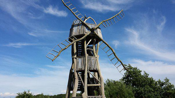 Windmill, Sky, Wind Mill, Art