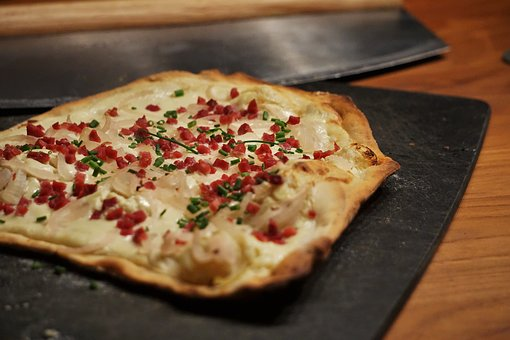 Tarte Flambée, Bacon, Onions, Eat, Alsace, Tasty
