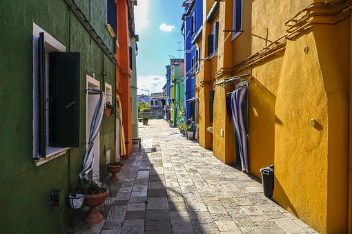 Burano, Colored Houses, Colorful, Village, Island, Rose