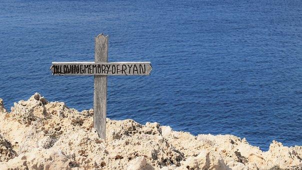 Cross, Wooden, Memory, Sea, Sign, Blue Cross