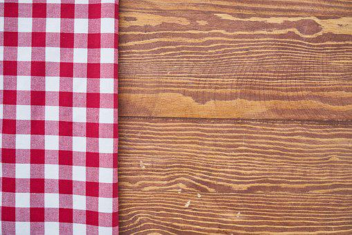 Table, Fabric, Plaid, Red, Brown, Towel, Textile, White