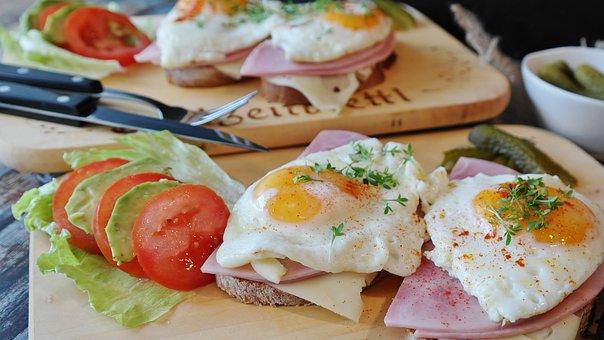 Fried Eggs, Bread, Ham, Tight Max, Egg, Protein, Yolk