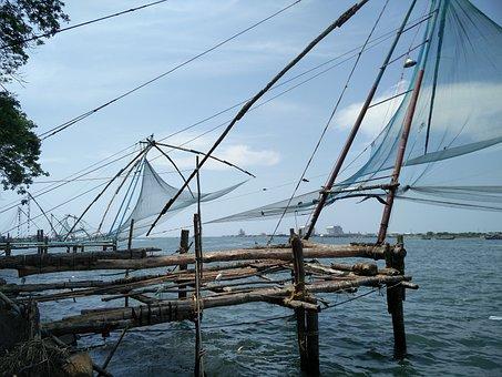 Kochi, Chinese Fishing Nets, Fishing, Nets, Waterfront