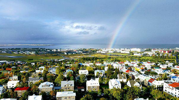 Iceland, Rainbow, Landscape, View, Reykjavik, Houses