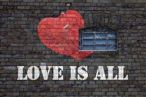 Wall, Brick, Grafitti, Window, Love, Heart, Symbol