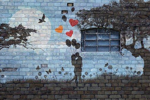Wall, Brick, Grafitti, Window, Love, Couple, Balloons