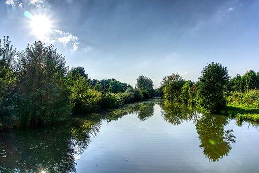 Water, Mirroring, Sun, Sunbeam, Back Light, Tree, Green