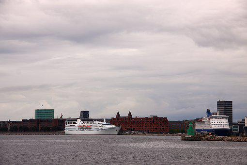 Ferries, Port, Ships, Berth, Langelinie, Sky, Clouds