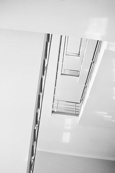 Stairs, Ladder, Minimalism, White, Clear