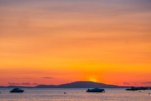 Sea, Sunset, Novalja, Croatia, Pag, Coastline, Summer