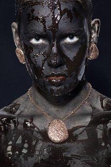 Model, Women's, Exposure, Painted, Paint, Black