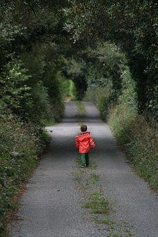 Child, Away, Alone, Walk, Forest Path