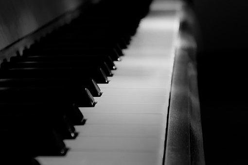 Piano, Button, Black And White, Instrument, Light, Dark