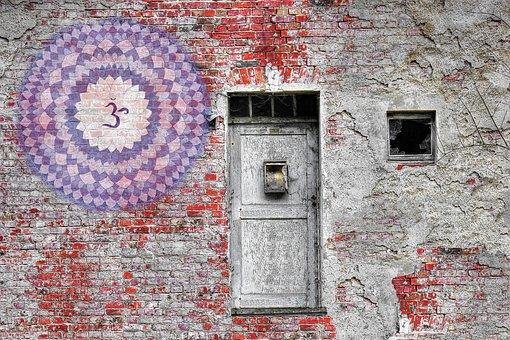 Mandala, Chakra, Brick, Wall, Door, Vintage, Meditation