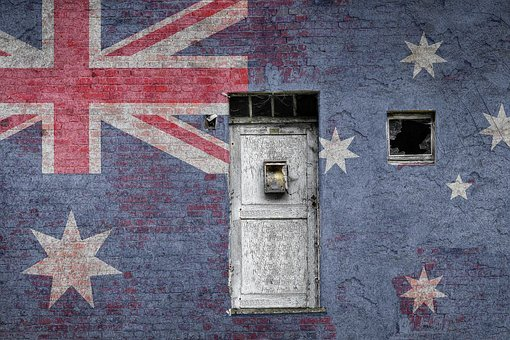 Australia, Flag, Wall, Brick, Vintage, National, Nation