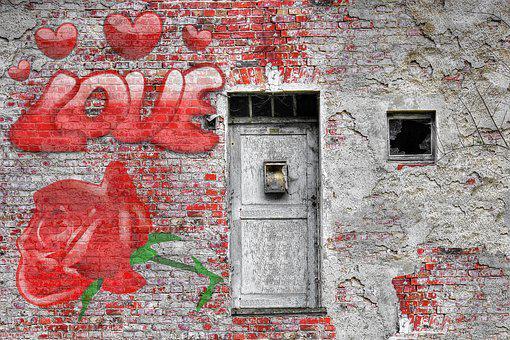 Love, Wall, Rose, Vintage, Brick, Door, Couple, Young