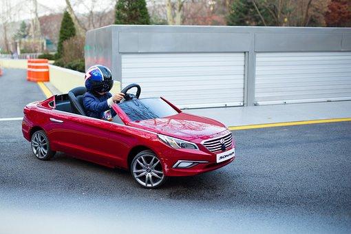 Sonata, Car, Racer, Road, Red, Wheels, Driving, Racing