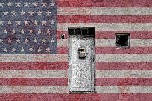 American, Flag, Door, Vintage, Bricks, Wall