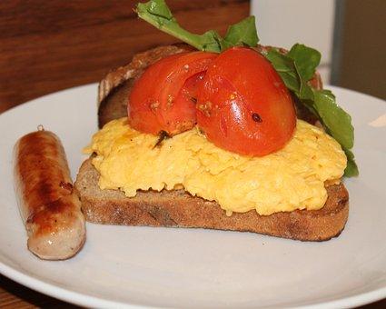 Food, Breakfast, Sausage, Scrambled Egg, Grilled Tomato