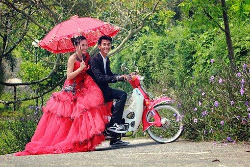 Wedding, Girl, Creative, Umbrella, Bride, Dress, White