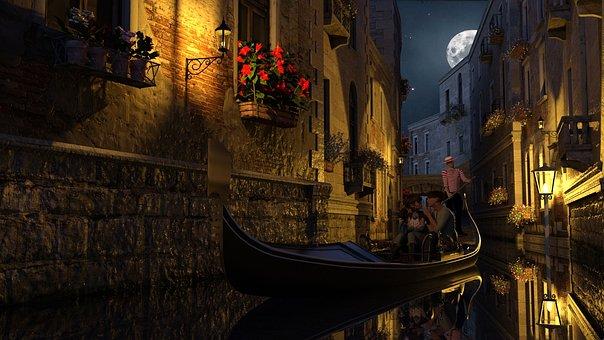 Venice, Gondola, Midnight, In Love, Gondoliers, Bridge