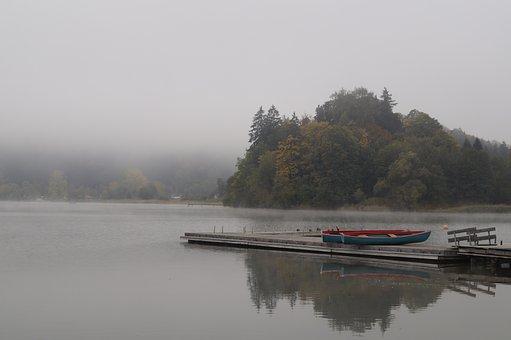 Lake, Fog, Autumn Beginning, Water, Nature, Landscape