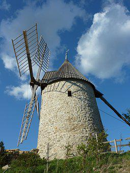 Mill, Sky, Cloud, Blue, Nature, Landscape, France, Calm