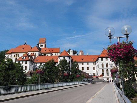 St Mang's Abbey, Füssen, Lech Dump, Bridge, Monastery