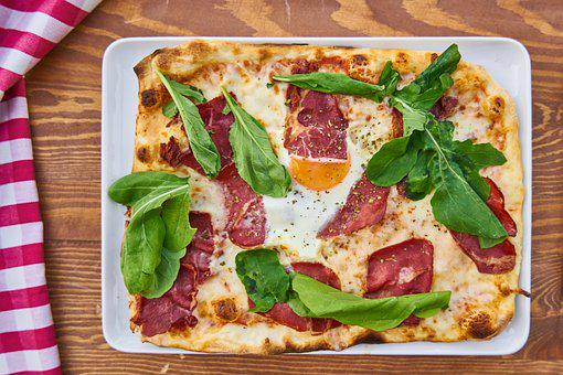 Pizza, Bacon, Greens, Leaves, Meat, Backgrounds