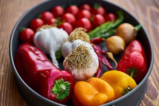 Tomato, Garlic, Pepper, Greens, Onion, Kitchen, Detail