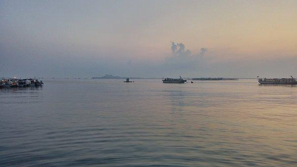 Sea, Dawn, Sunset, Pause, Twilight, Glow Sea